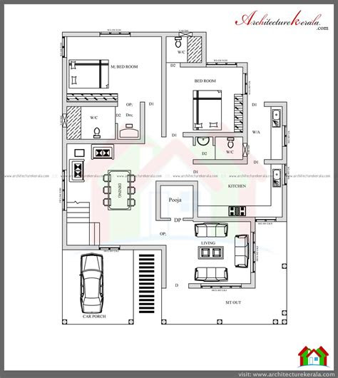 bed house plan  pooja room architecture kerala