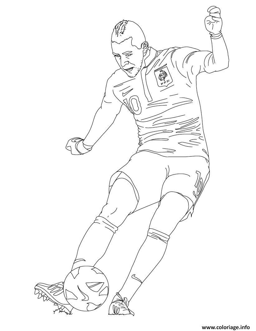 Coloriage Karim Benzema Joueur De Foot France Dessin  Imprimer