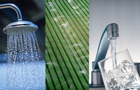 Collage of sprinkler head, wet leaf and kitchen faucet