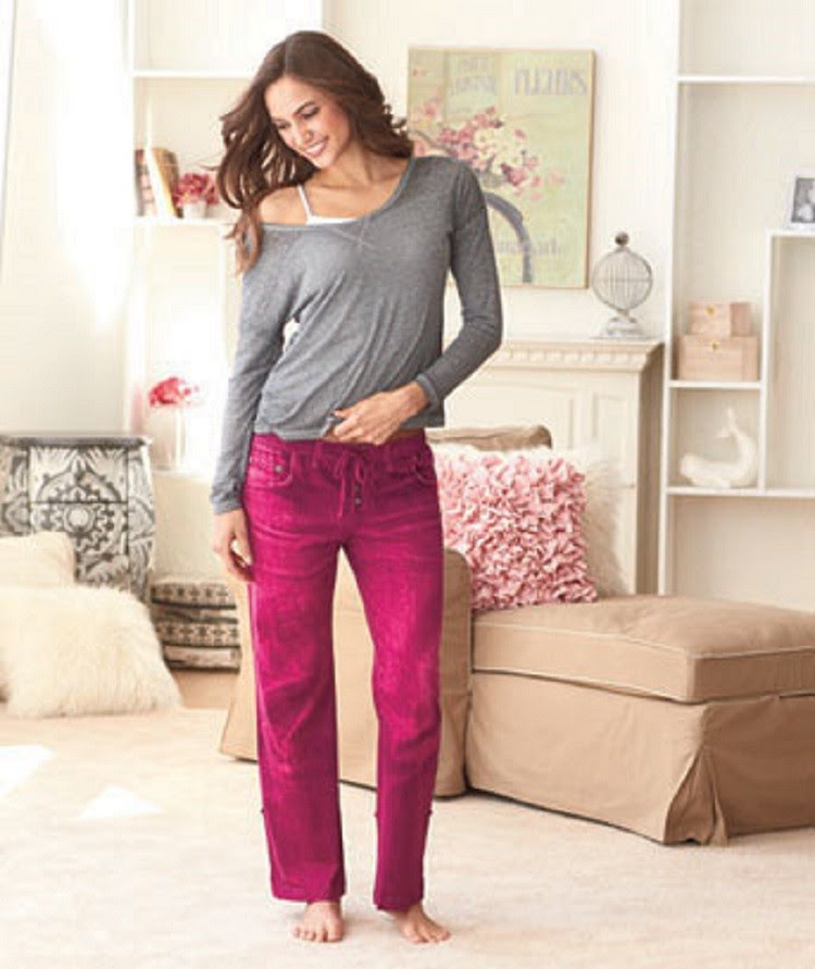 figure flatterng hot pink jeans style ladies lounge pants