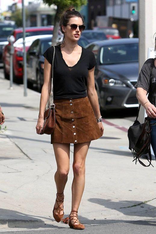Le Fashion Blog Model Style Alessandra Ambrosia Sunglasses Black Tee Brown Suede Skirt Chloe Bag Lace Up Flats Via Savoir Flair