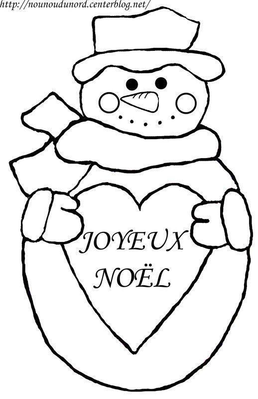 Coloriage Bonhomme De Neige Avec Coeur écrit Joyeux Noël