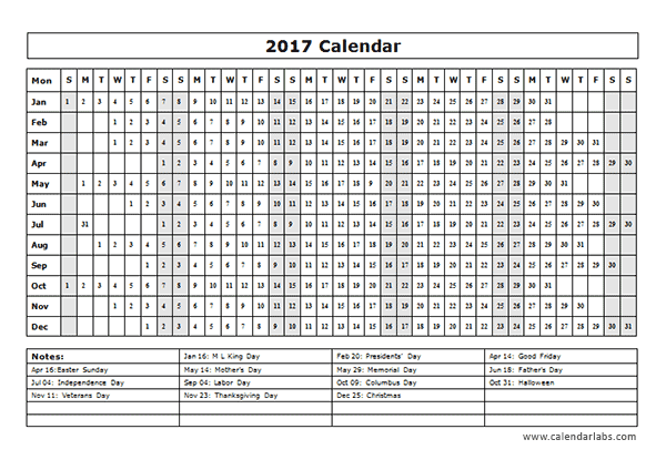 2017 calendar template year at a glance