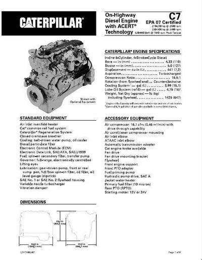 Caterpillar C7 engine specs, manuals and bolt torques