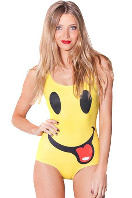 Adogril Yellow Smiley Tongue Romper Swimwear