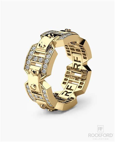 BRIGGS Mens Gold Wedding Band with Diamonds ? Rockford