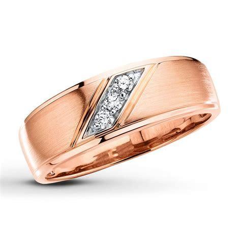Men's Wedding Band 1/10 ct tw Diamonds 10K Rose Gold