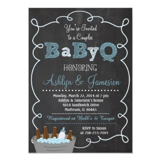 "Boy Couples BabyQ BBQ Baby Shower Invitation 5"" X 7"" Invitation Card"