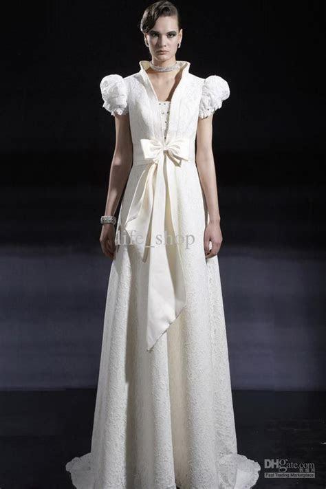 Vintage Stickup Short Puff Sleeves Wedding Dresses Lace