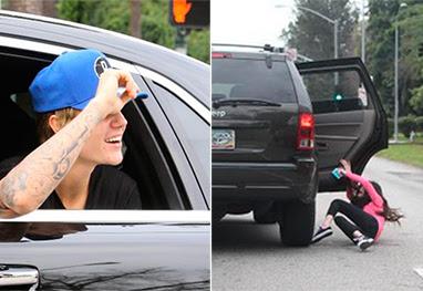Fã de Justin Bieber cai de carro ao tentar persegui-lo - Grosby-Group