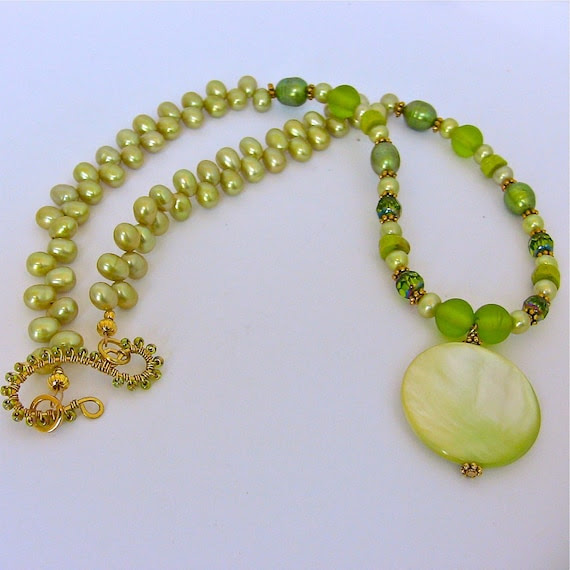 Lime Green Necklace with Unique Shell Focal and Gorgeous  Freshwater Pearls Matching Green Earrings
