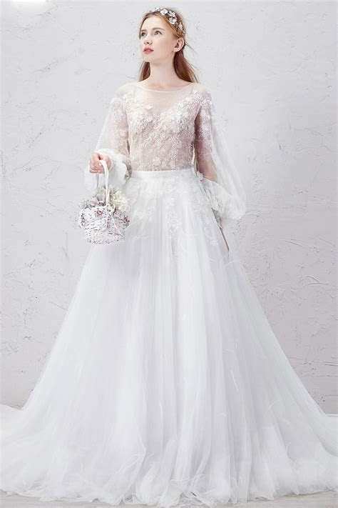 Shop discount Elegant a Line Tulle Illusion Long Sleeve
