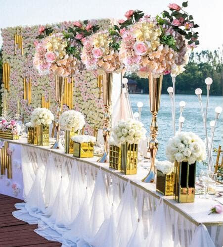 elegant metal  cm tall sparking gold wedding flower vase