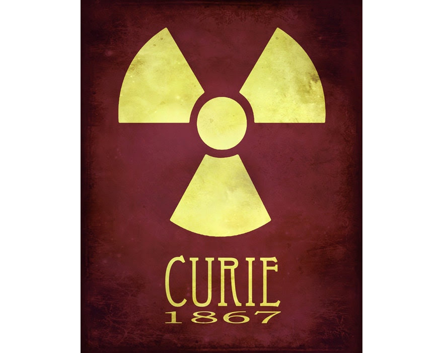 11x14 Science Art Marie Curie Rock Star Scientist Steampunk Print Radioactive Radiation Radioactivity Geek Scientific Educational Diagram