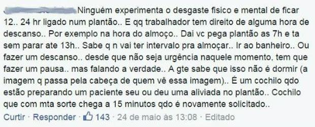 Médico brasileiro que curtiu fotos dos colegas mexicanos aproveita para desabafar no Facebook (Foto: Reprodução/Facebook)
