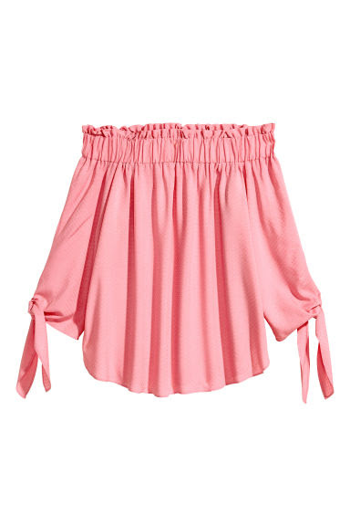 Off-the-shoulder top - Pink/Patterned - Ladies | H&M GB