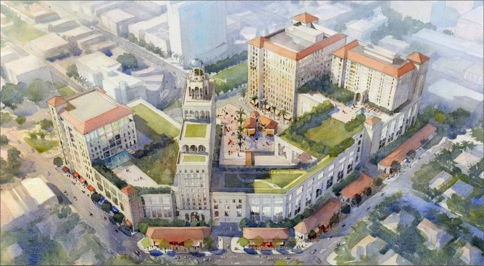 Rendering of The Plaza Coral Gables development. Until recently the project was known as the Mediterranean Village.