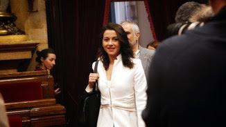 La líder de Cs a Catalunya, Inés Arrimadas, arribant al Parlament en la sessió d'investidura de Quim Torra, el 12 de maig del 2018 (Horitzontal).