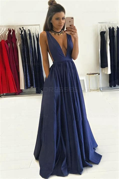 Long Blue Low V Neck Prom Dresses Party Evening Gowns 3020274