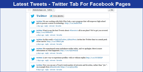 Latest Tweets - Twitter Tab App For Facebook Pages