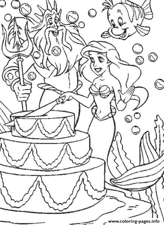 Disney Ariel Happy Birthday Free6115 Coloring Pages Printable