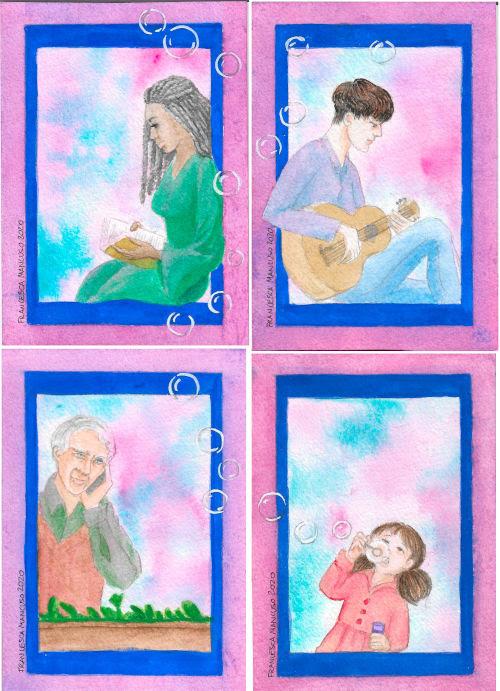 Francesca Mancuso - self-isolation - watercolour postcards - set of 4