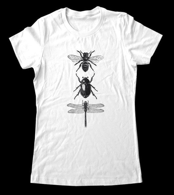 Bee Beetle Dragonfly T-Shirt - Printed on Super Soft Cotton Jersey T-Shirts for Women and Men/Unisex