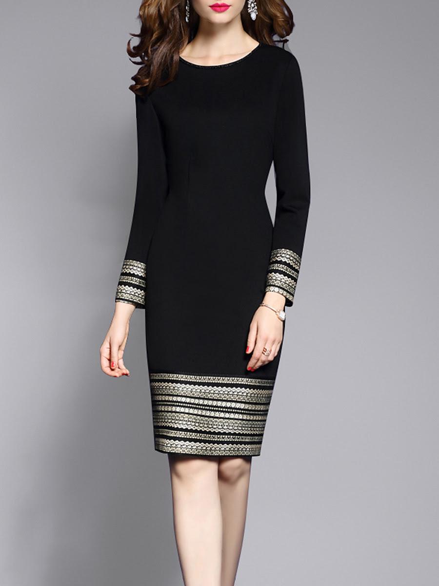 Round neck plain blend bodycon dress online