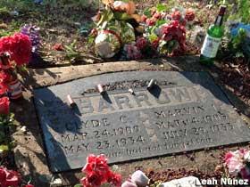 Clyde Barrow grave, augmented with liquor bottles and shotgun shells.