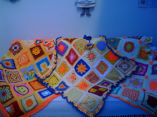I have now made 11 Sunshine Blankets of Love for the Elderly. These 3 are made from Squares sent in for our 'Sun Challenge'. If you don't see your Square it will be coming up very soon in the next 'Sun Blankets' there are still more to come ! :)