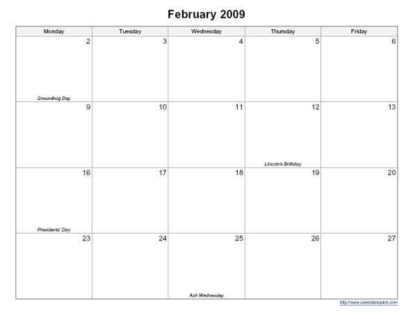 Printable 5-Day Monthly Calendar - CalendarsQuick