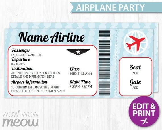 AIRPLANE Ticket Invite Aeroplane Passport Invitation Pilot Fun ...