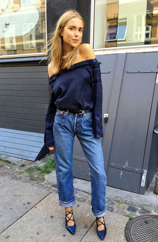 Le Fashion Blog Blogger Style Off The Shoulder Top Boyfriend Jeans Lace Up Heels Via The You Way