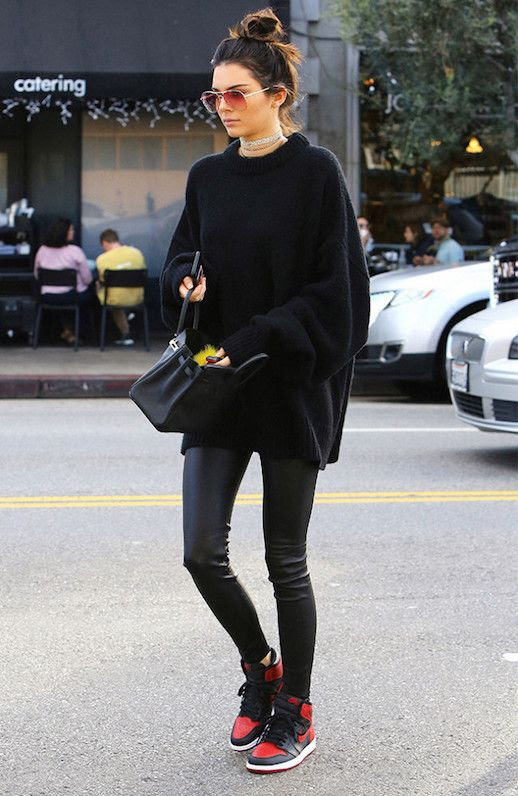 Le Fashion Blog Black Oversized Sweater Leather Leggings Running Sneakers Via Who What Wear