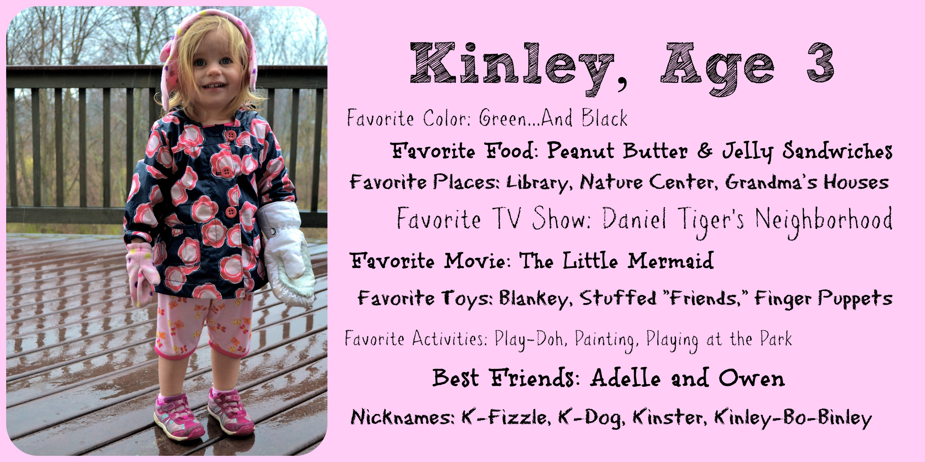 To My Daughter On Her Third Birthday Dearest Kinley