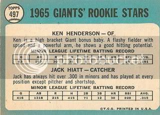 #497 Giants Rookie Stars: Ken Henderson and Jack Hiatt (back)