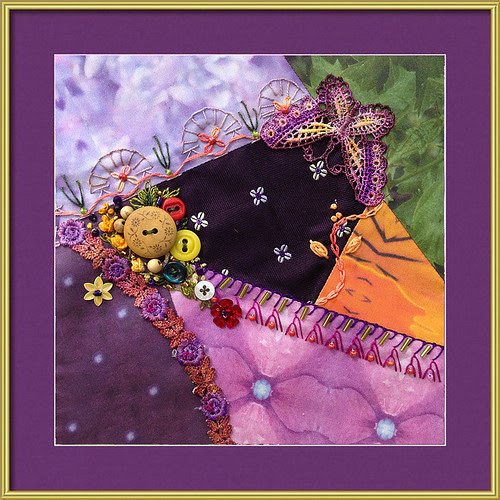 Summer flowers crazy quilt block#1