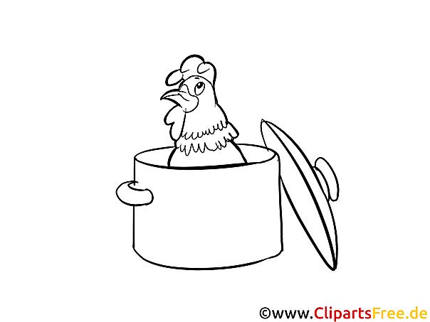 Huhn im Topf Bild Malvorlage