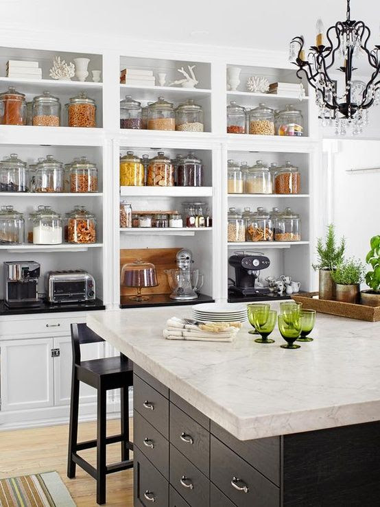 Decorating with glass canisters in the kitchen (Photo via DIY Network) | anderson + grant