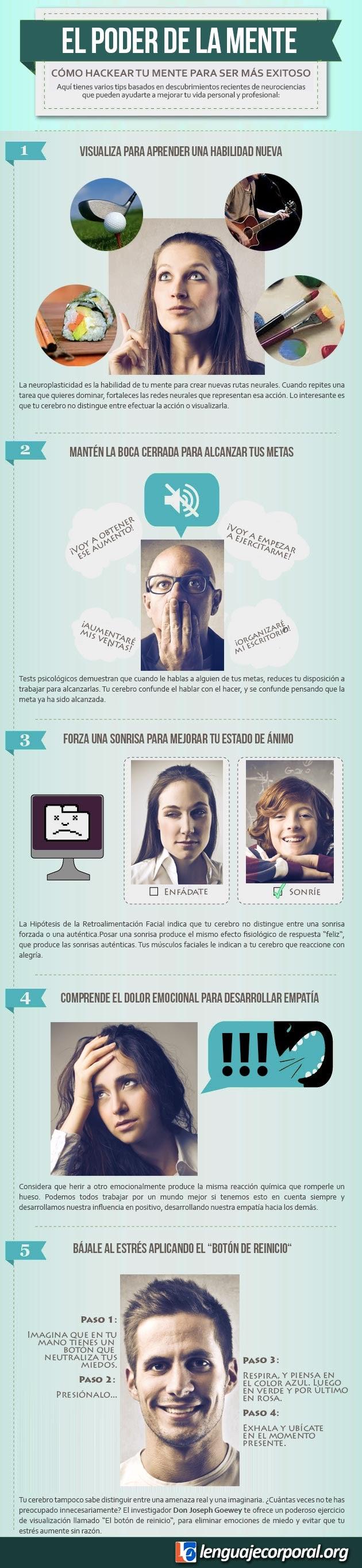 El poder de la mente: cómo hackear tu mente para ser más exitoso (Infografía)