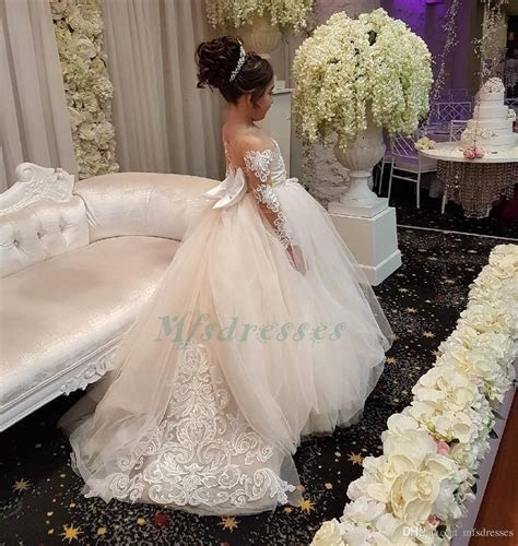 Princess White Pink Flower Girls Dresses For Weddings 2018