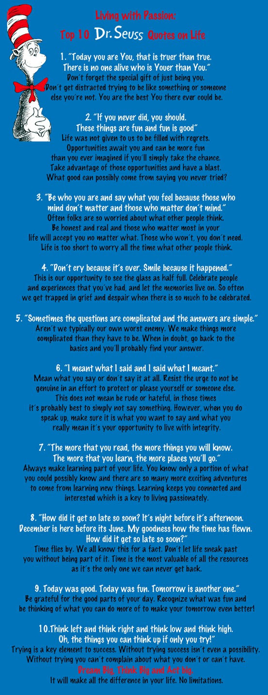 Giant Leaps To Success Living With Passion Top 10 Drseuss Quotes