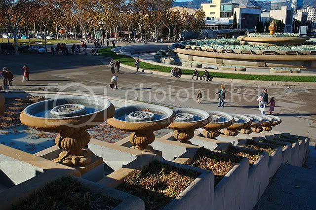 Fountains of Montjuic in Barcelona. A Winter Photograph