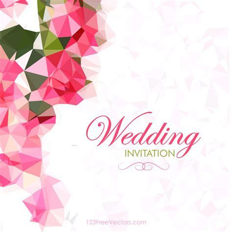 Abstract Pink Polygonal Wedding Card Template