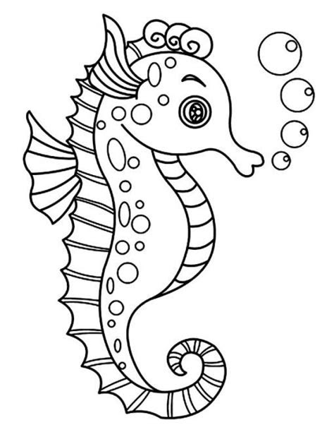 collection  sea horse coloring pages  toddlers