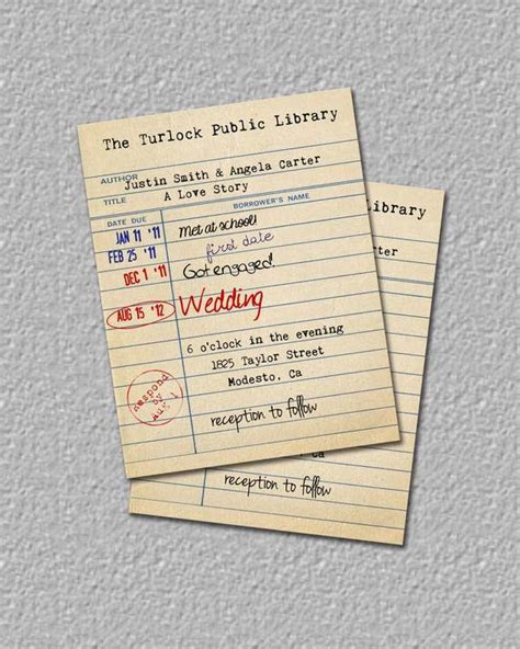 Items similar to Library Card Invitation, Library Wedding