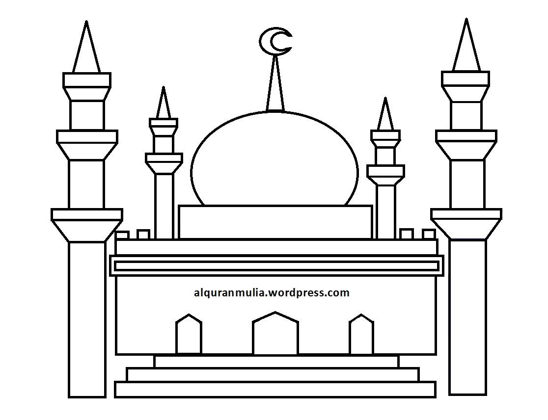 50 Gambar Sketsa Ilustrasi Masjid Terlengkap Duniasket