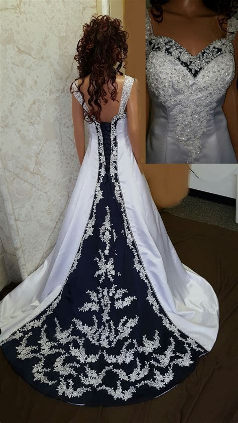 Navy blue and white wedding gown. Available in other