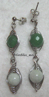 Herringbone weave earrings with agate and jade