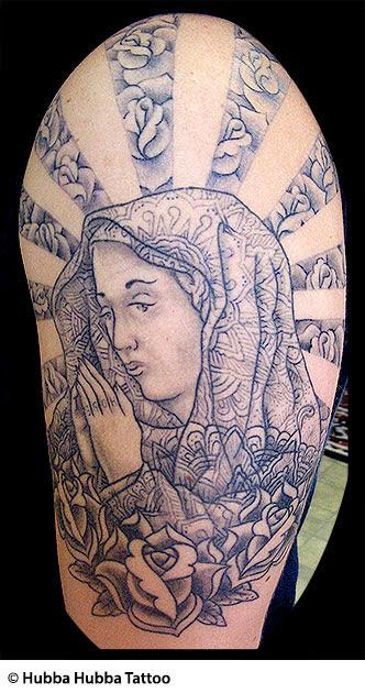 Christian Tattoos Jesus Rosary Virgin Mary Praying Hands Devil